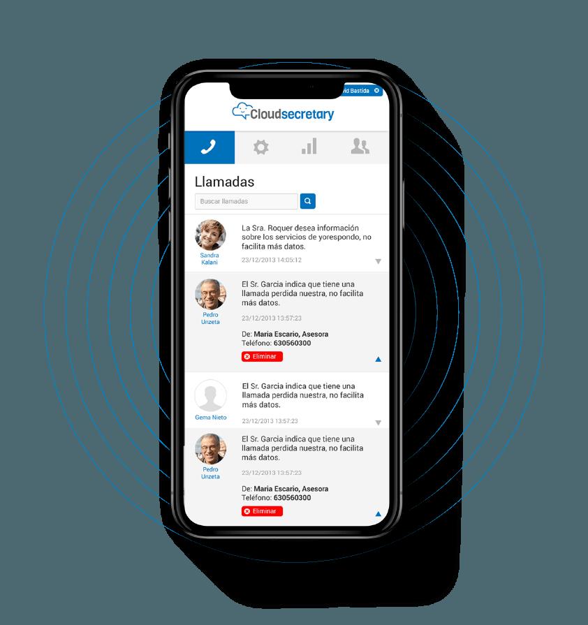 Teléfono móvil con la aplicación de Cloudsecretary en pantalla