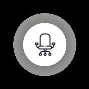 Icono que representa las ventajas de la secretaría física. Se ilustra con una silla de oficina.