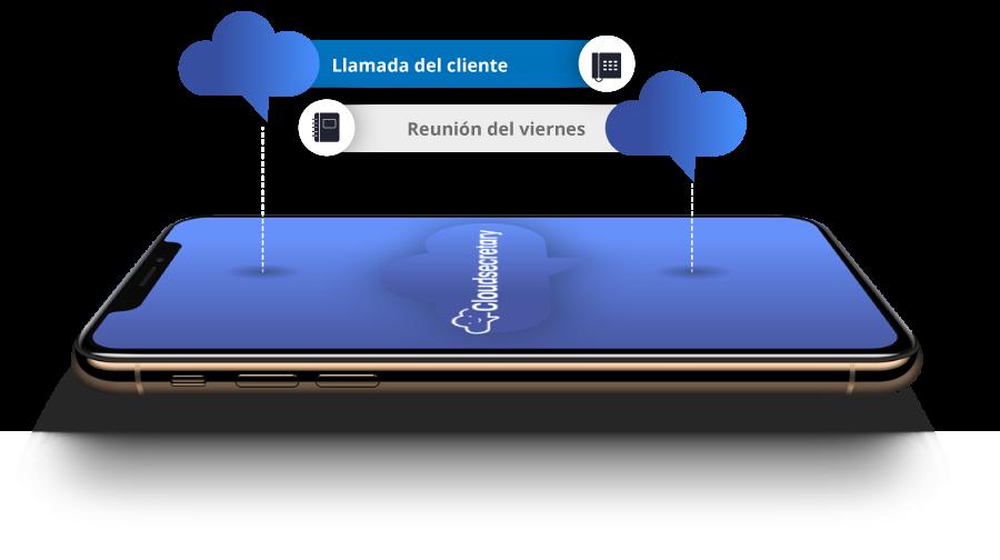 Imagen de móvil representando notificaciones de Cloudsecretary